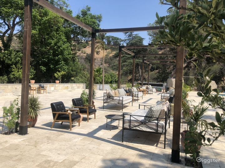 Three 12' x 12' pergolas with high ceilings. Ample lounge seating