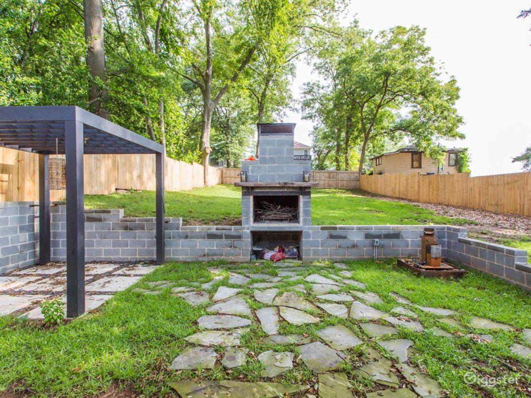 Back yard pergola and fireplace