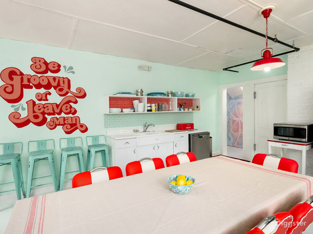 Large renovated kitchen area in vintage retro theme