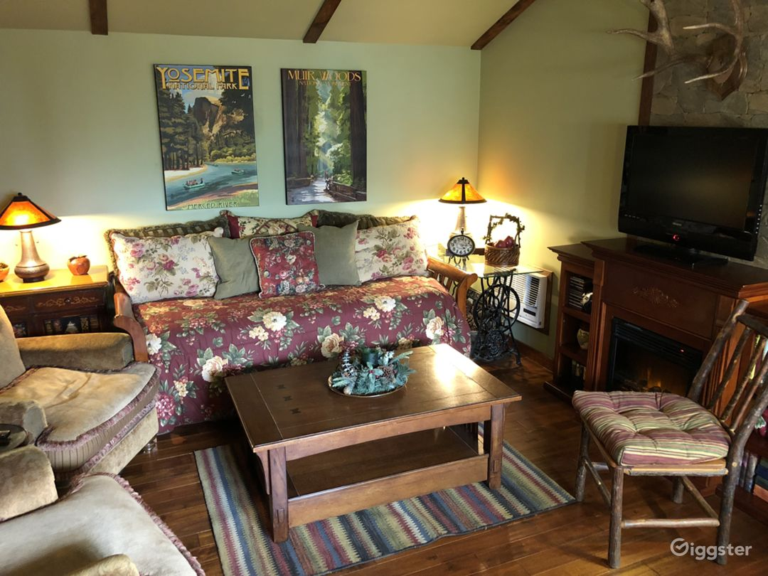 Our one room, 400-square-foot cabin decorated in cozy rustic craftsman style
