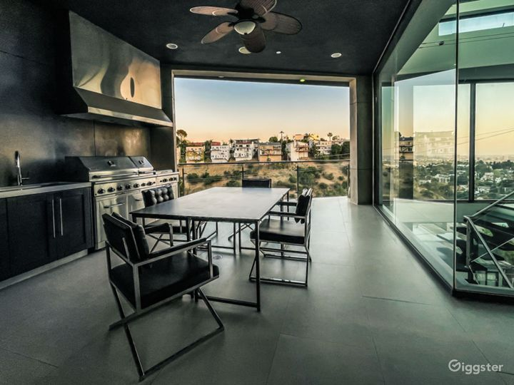 Outside BBQ area with stunning Valley and city view into Hollywood.