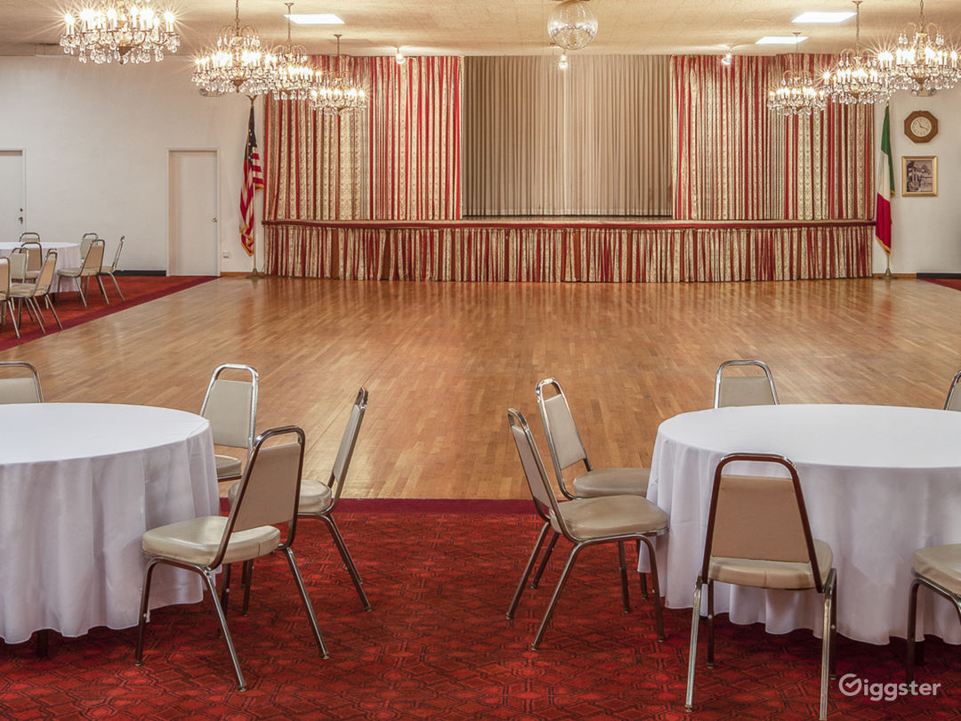 Our ballroom with a stage and the biggest dance floor in Los Angeles.