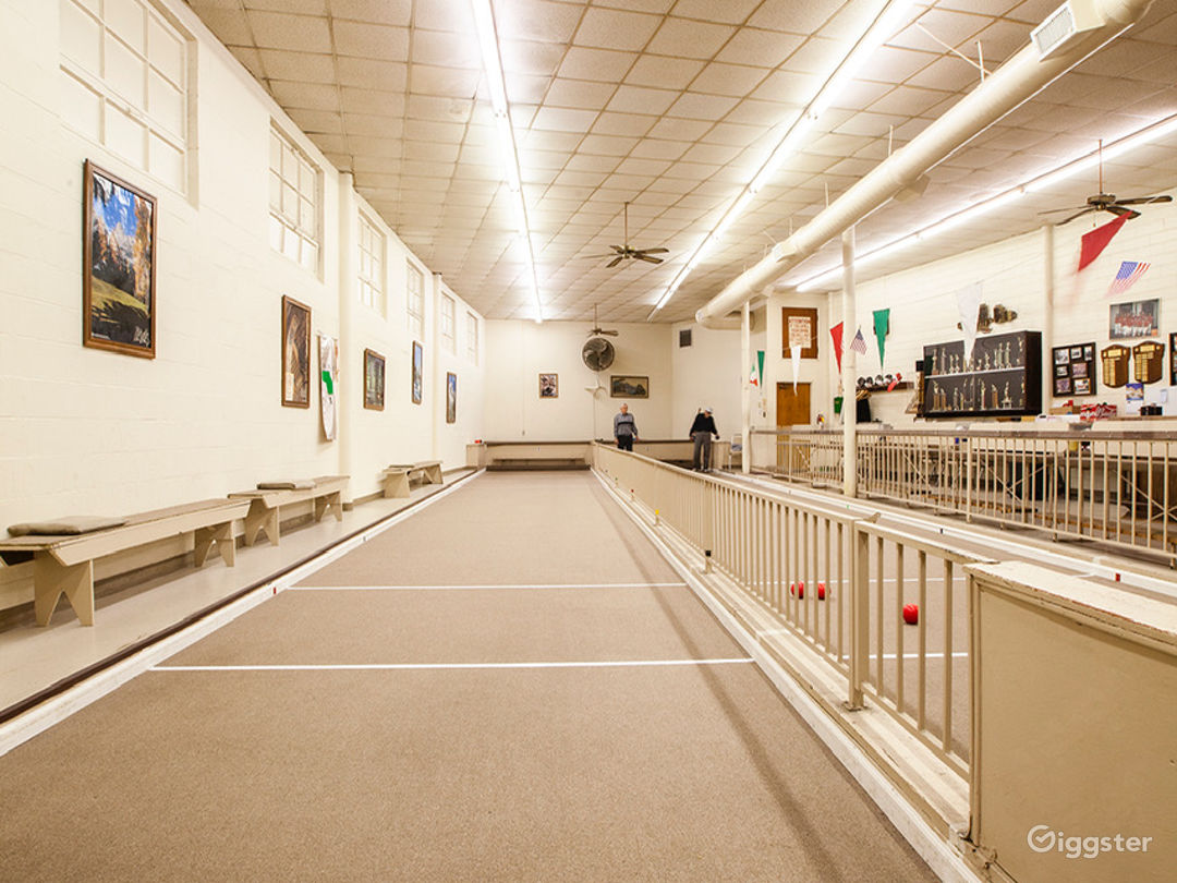 Indoor bocce courts.