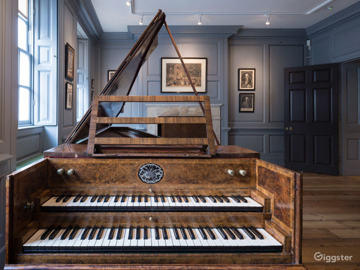 Handel's Music Room, featuring our 18th-century harpsichord.