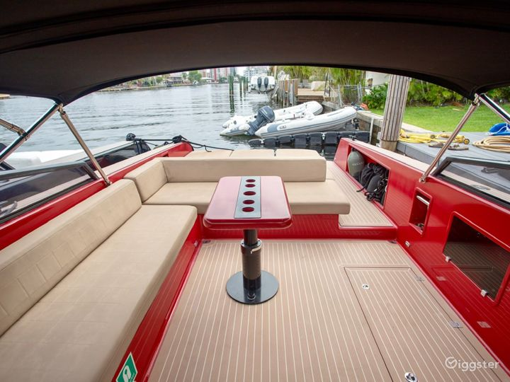 Sophisticated 40FT VanDutch Red Party Yacht Space Events Photo 2