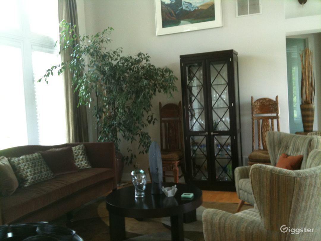 Living room.  18 foot ceiling