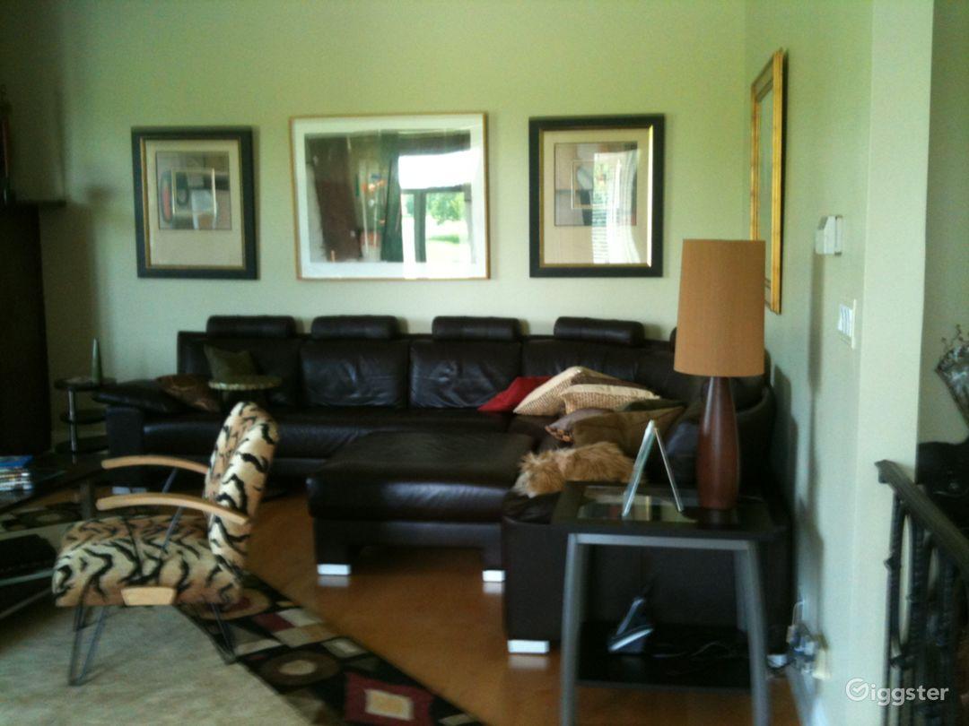 Main floor family room. True Italian leather sectional .