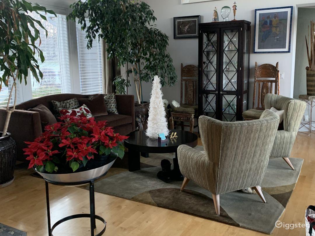 living room, mohair sofa & 2 Haywood Wakefield chairs