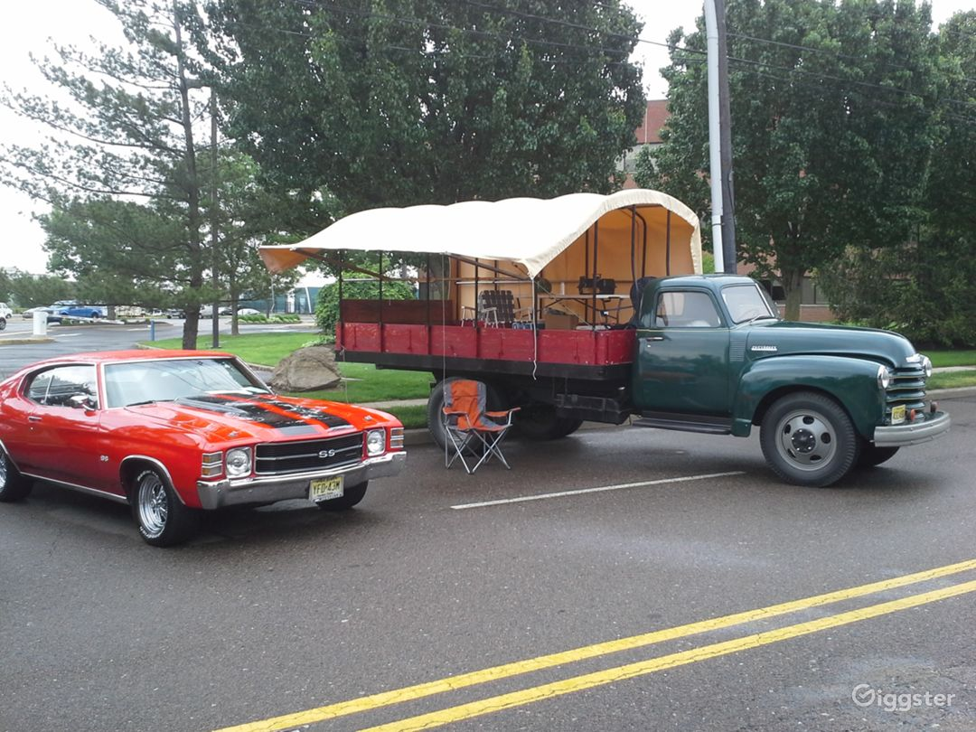 "Canopy is open. ""Ole Chev"" is a big hit at car shows."
