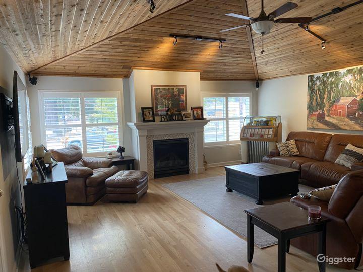 Living Room Vaulted Cedar Ceiling