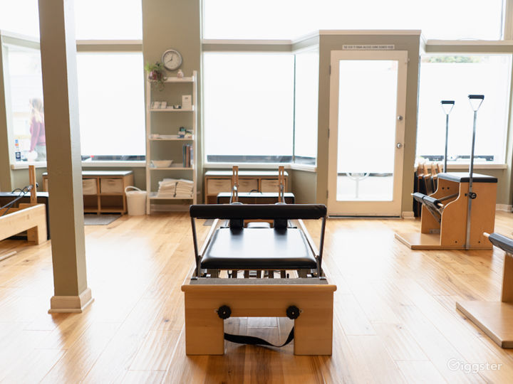 Studio equipped with four Balanced Body studio reformers, four combo chairs, three wall units, one Cadillac, one ladder barrel, and one Ped-o-Pull in addition to a wide variety of props.