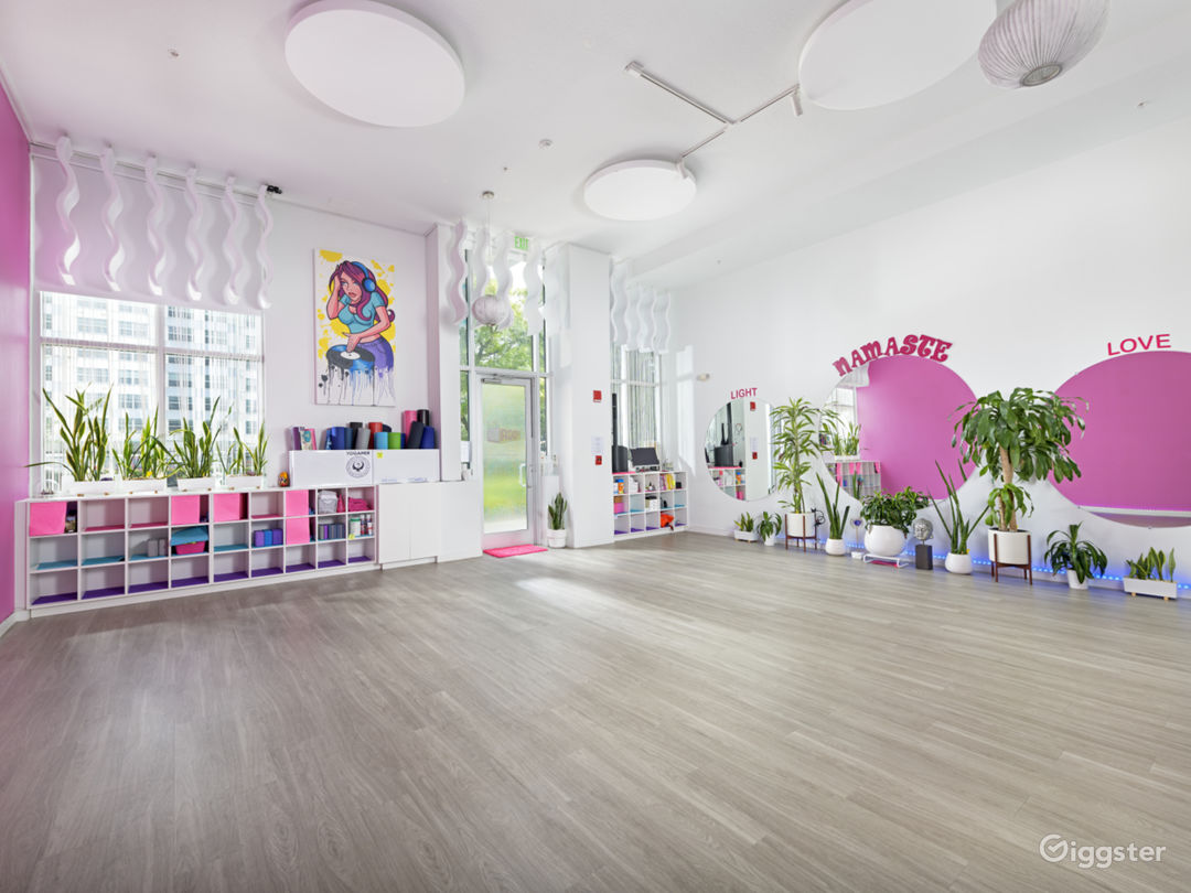 Chic Sunlight Yoga Studio in a Barbie-Pink Theme Style Interior Photo 1