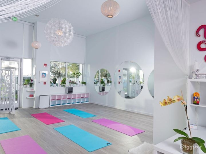 Chic Sunlight Yoga Studio in a Barbie-Pink Theme Style Interior Photo 4