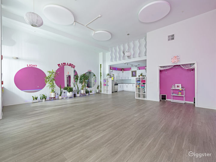 Chic Sunlight Yoga Studio in a Barbie-Pink Theme Style Interior Photo 3