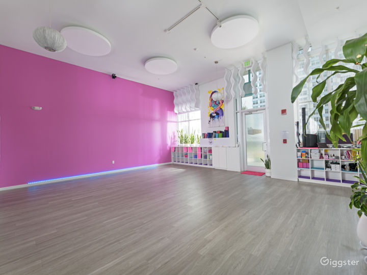 Chic Sunlight Yoga Studio in a Barbie-Pink Theme Style Interior Photo 2
