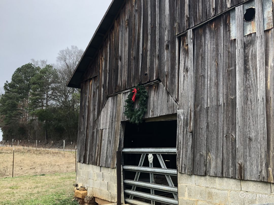 Clear Spring Farm decorated for Christmas, 2019. (Pictured here, our early 1900s calf barn featuring rustic hand-hewn board and batten exterior).
