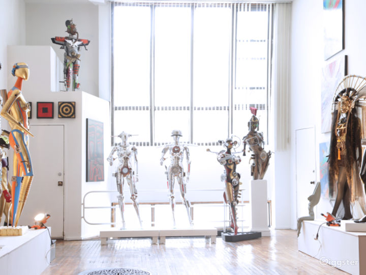 Art Gallery with Futuristic Cyborg Sculptures