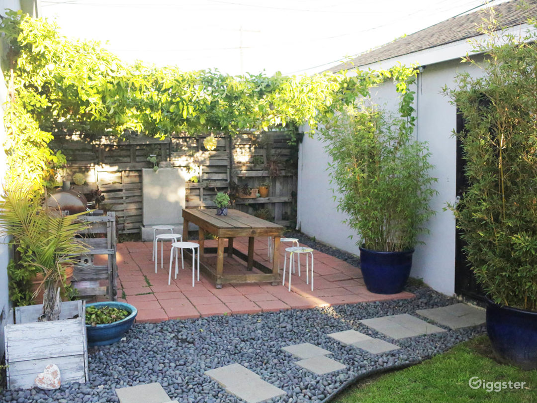 Zen garden patio with twinkle lights and passion fruit vines