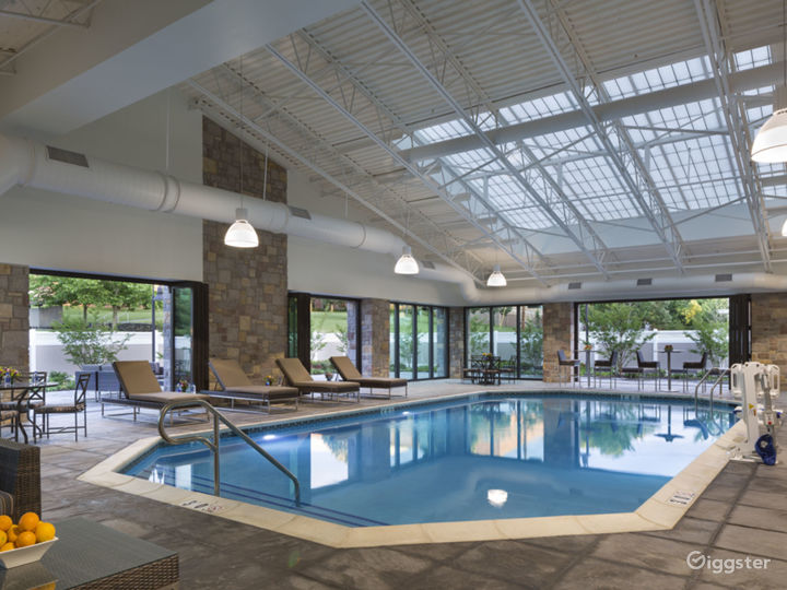 Indoor Salt Water pool with outdoor patio access