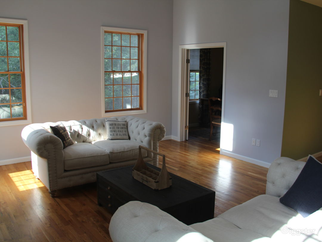 Great Room with 15 foot ceilings and fireplace