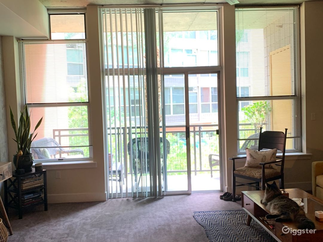 Large windows leading to patio