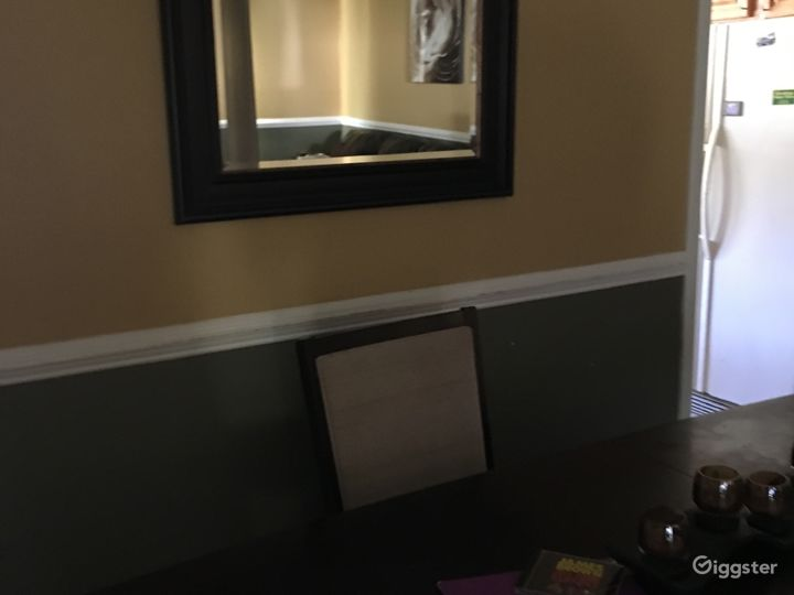 Dining room table and chairs. Chair rail molding