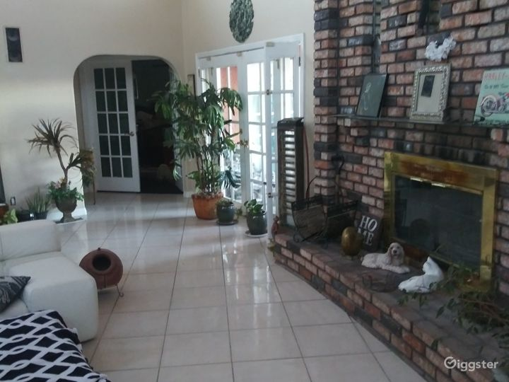 Side view of living room