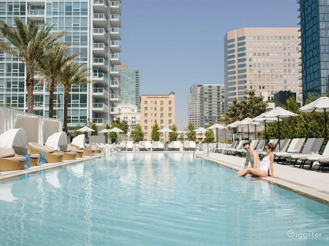 Downtown Rooftop Pool Deck with Basketball Court Photo 1