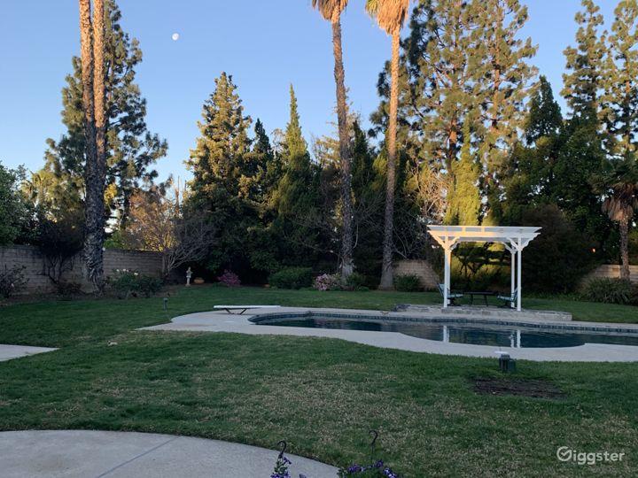 Backyard facing West. Newly resurfaced pool.