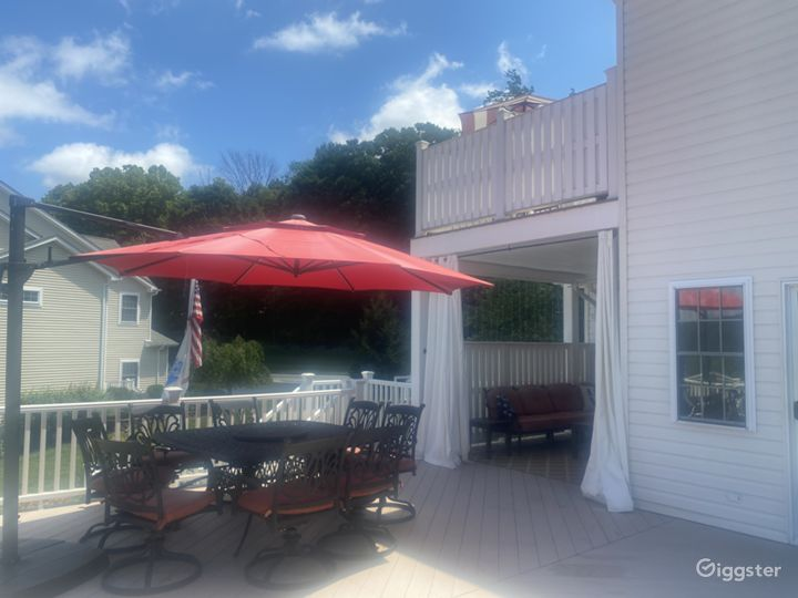 partial view of the deck, private covered nook and balcony above, just off master bedroom