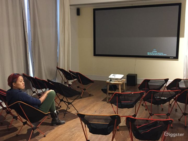Community room set up for a film screening