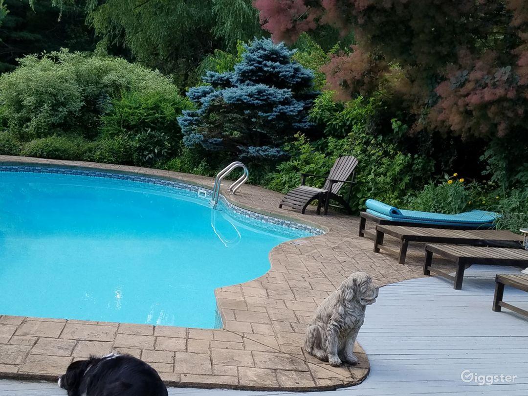 Heated salt water pool and pool garden