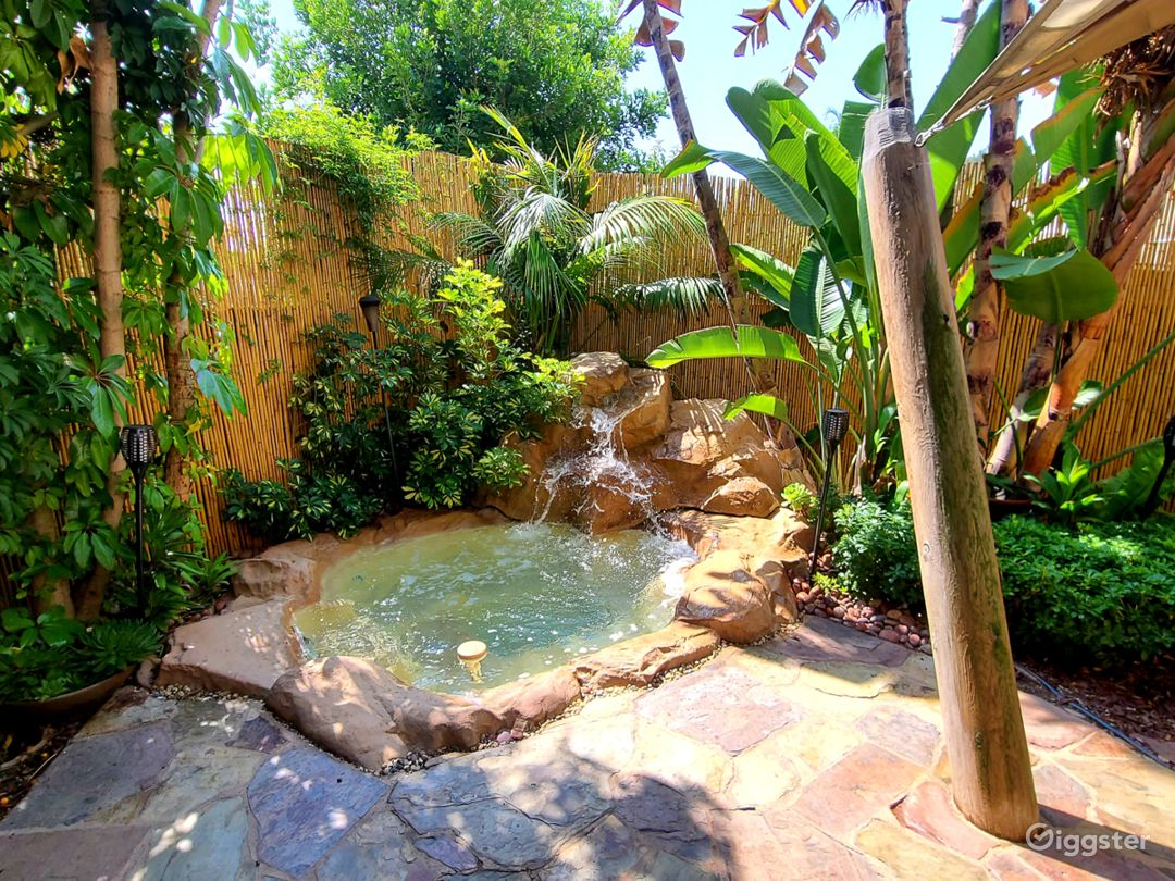 Spa and waterfall perfect for photography and video.