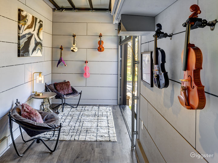 Music Trailer, with garage doors that open to the deck