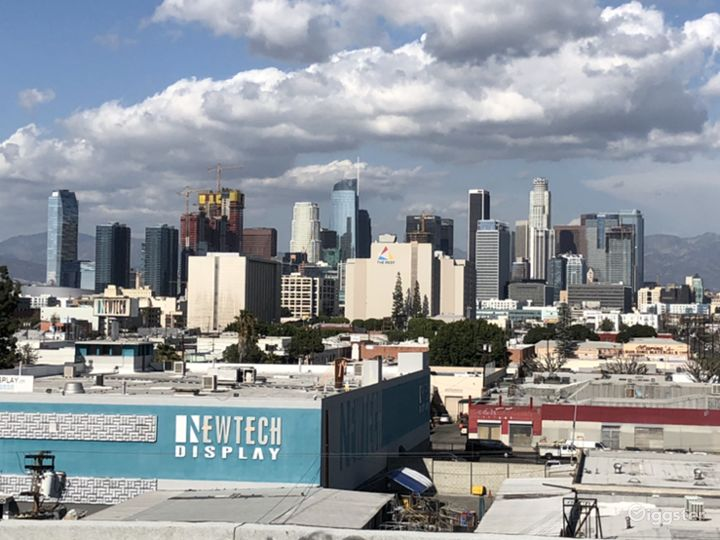 Downtown LA Skyline Rooftop White Setting