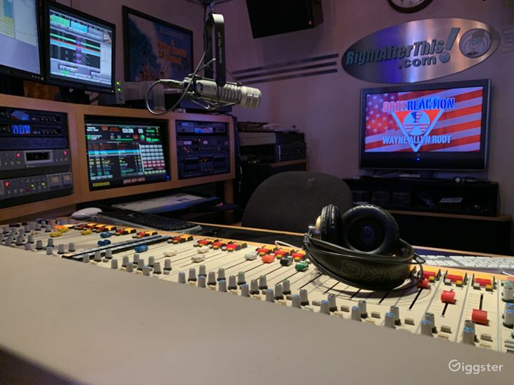 Studio A prepped for radio station shoot.
