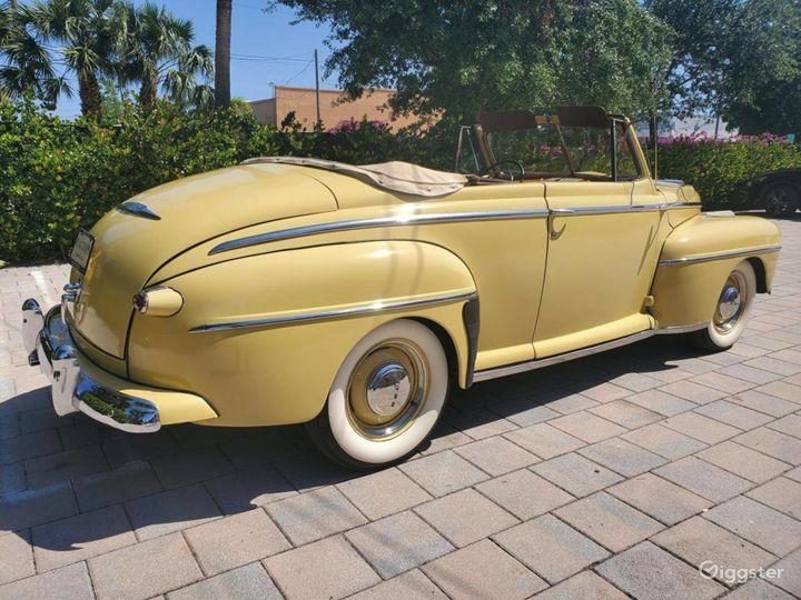 A Beautiful Yellow 1948 Ford Deluxe Convertible Photo 3