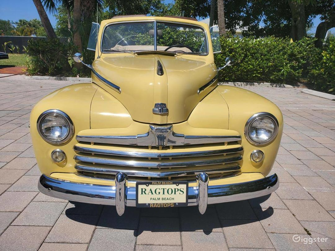 A Beautiful Yellow 1948 Ford Deluxe Convertible Photo 1