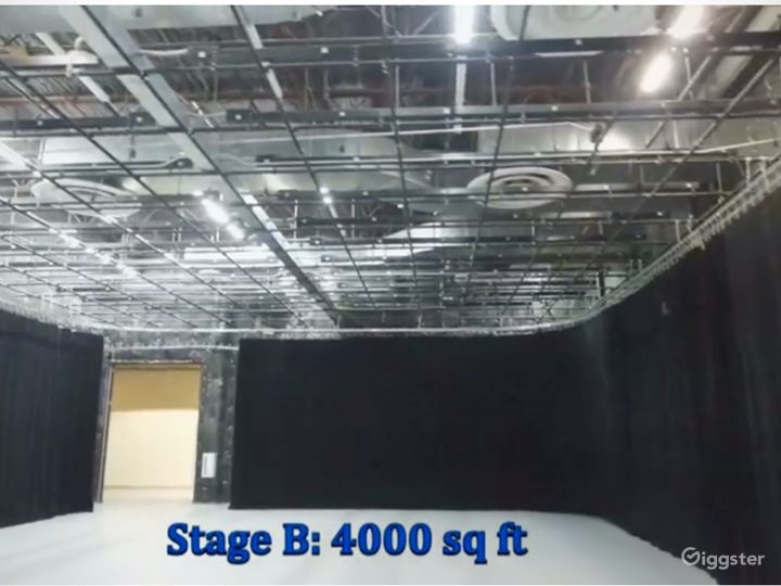 Stage B: 4000 sq/ft, full A/C, grid & dimmers, cam lock power outlets.