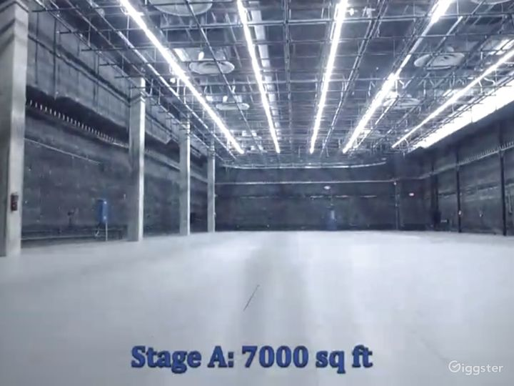 Stage A: 7000 sq/ft, full A/C, grid & dimmers, cam lock power outlets.