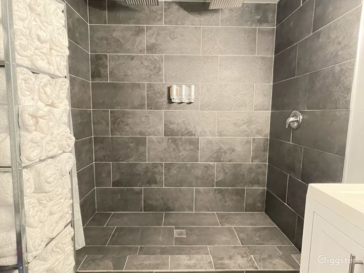 Dual rain shower, towels are provided, and photography is allowed in shower.