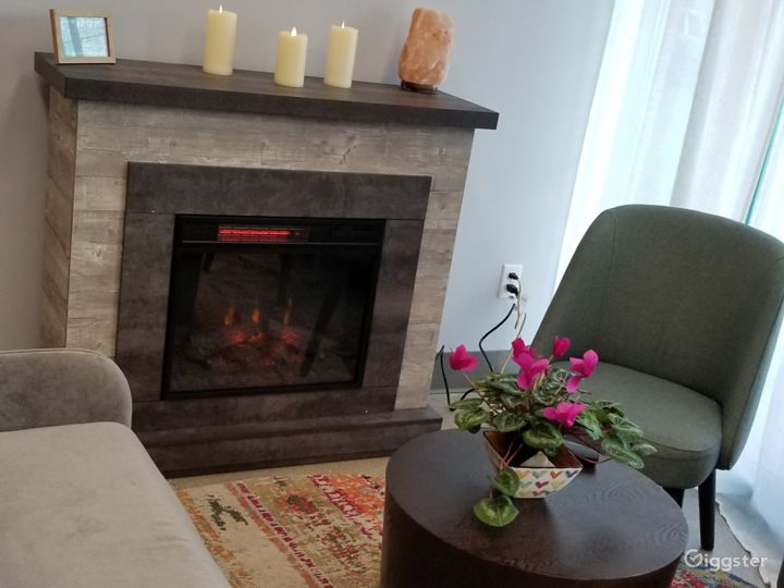 Seating with fireplace