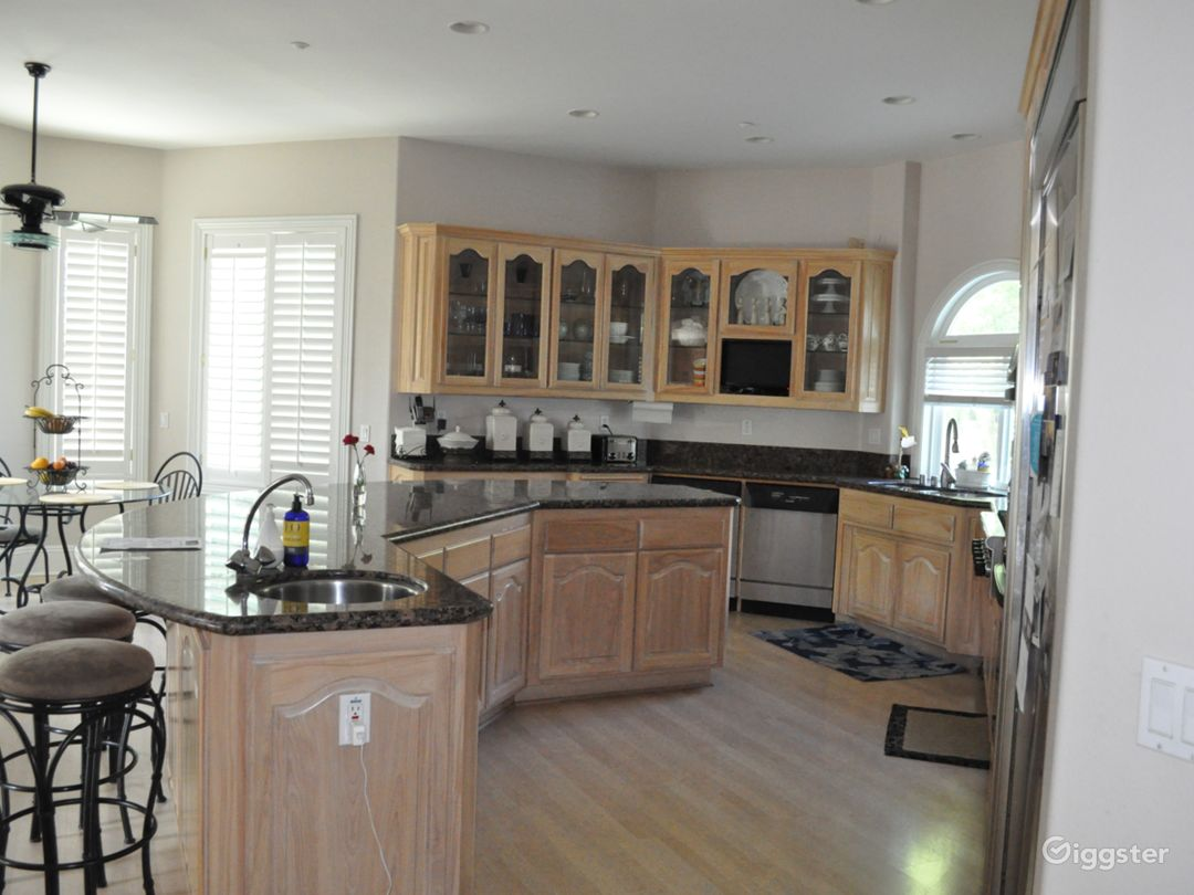 Large kitchen and sitting for 8 people on the kitchen counter for conversations and etc.