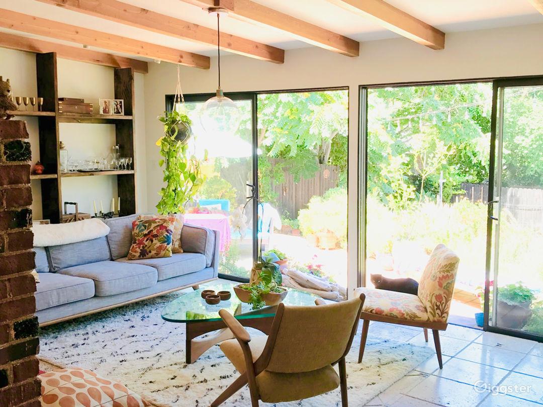 Living room opening onto back garden