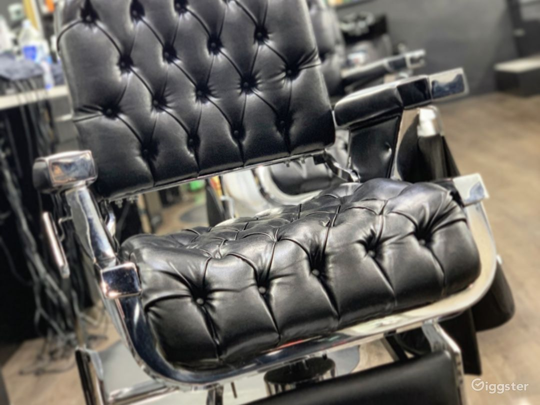 Button-tuft barber chairs