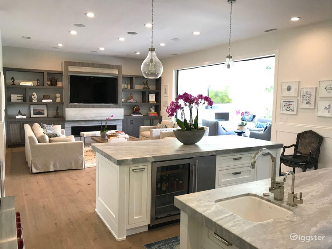 Open, airy kitchen/family room combo.  2 Islands, plenty of shooting room.
