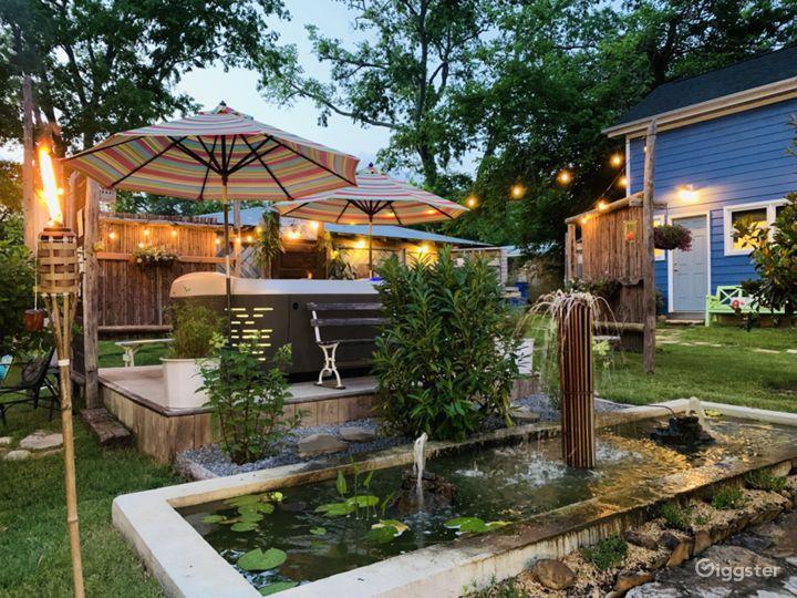 jacuzzi, fountain, tiny house