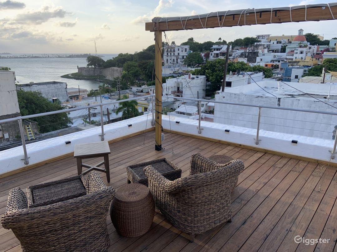 This is the deck on our rooftop, with views to the ocean and the city