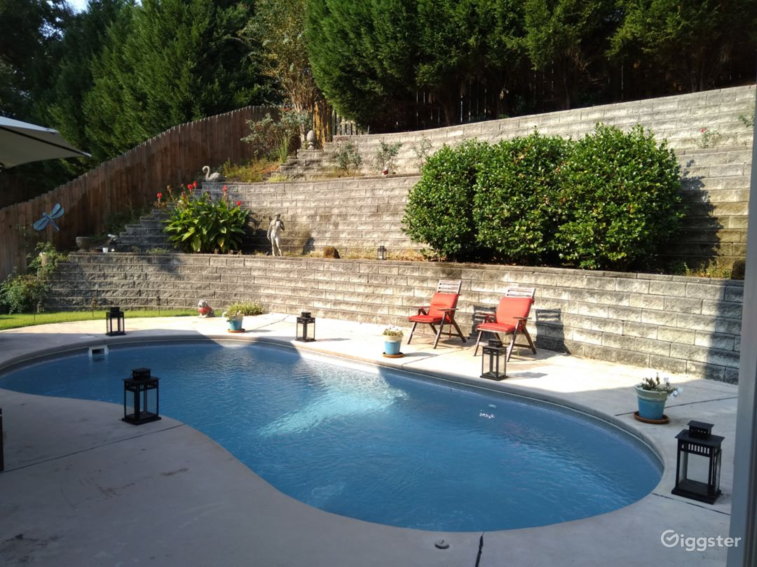 Private terraced backyard with pool