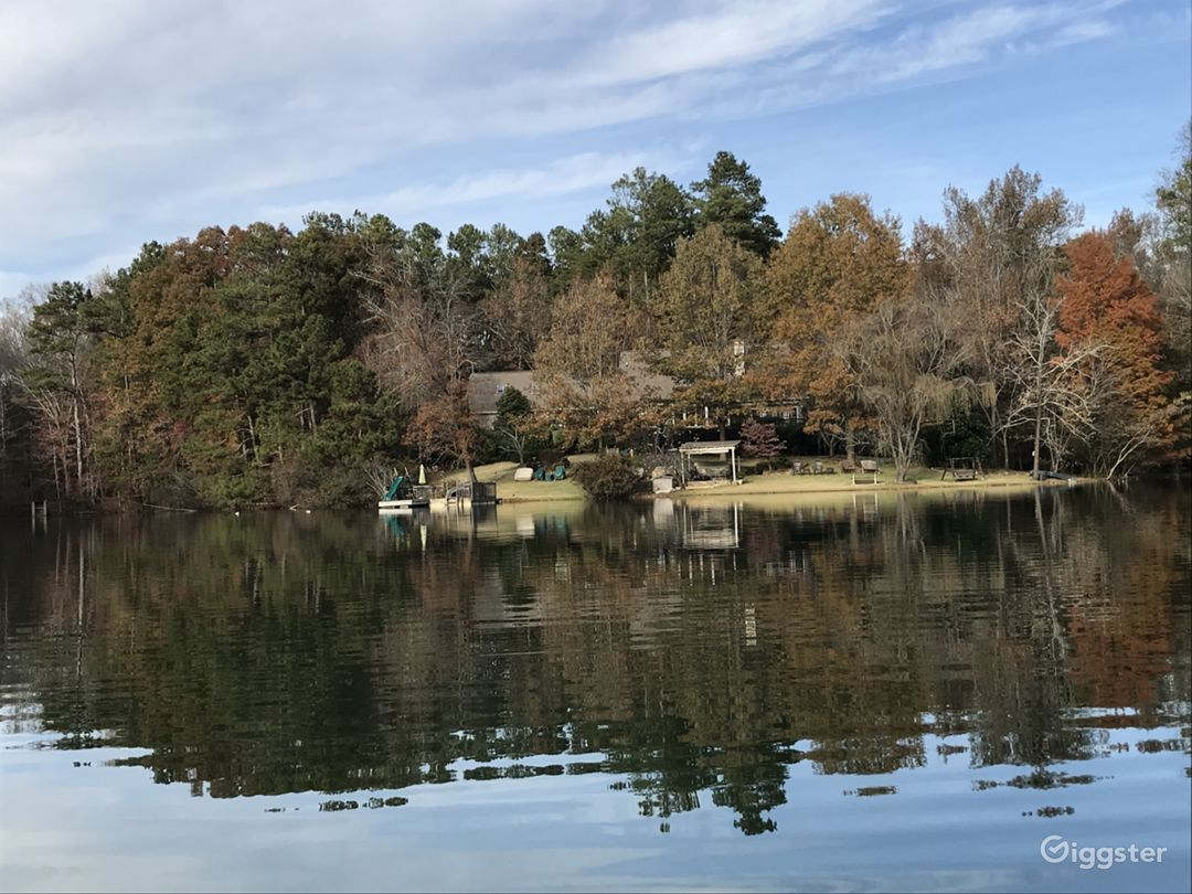 View of the back of our house from the lake.
